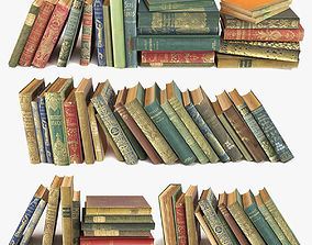 old books on a shelf set 1 3D