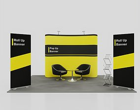 Pop Up RollUP Stands Trade show booth mock-up 3D