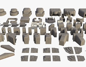 3D model game-ready Modular Bunker WWII