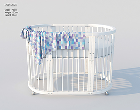 3D Modern oval white baby bed