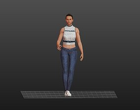 Athlete Girl in Jeans 3D asset