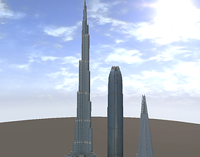 The Shard Burj Khalifa and Hongkong IFC lowpoly realtime 1