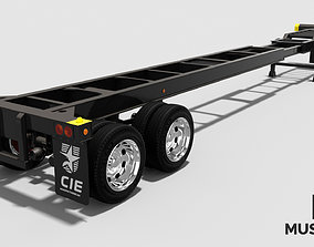 Extendable tandem trailer 3D asset