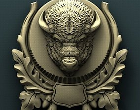 Bison head trophy medallion 3d stl model for cnc