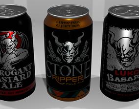 3 Beer Cans 3D asset