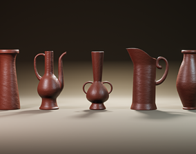 3D asset Clay jugs - five items ready for subdivide Part 3