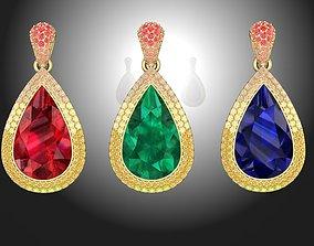 Pendant with Pear Stone diamonds 3D print model