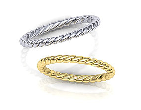 Rope wedding band twisted ring printable 3d model