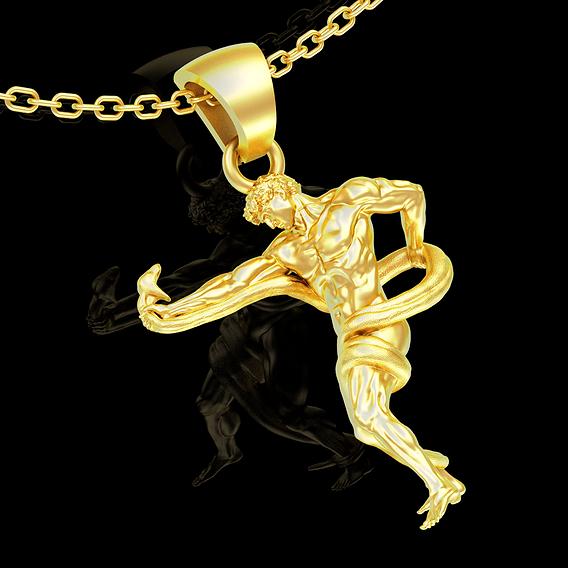 Athlete wrestling python pendant jewelry gold necklace 3D print model