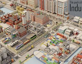 VR / AR ready Tile pack city 3d low poly 6 Industrial