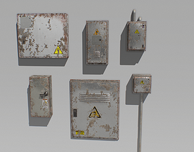 Old and Rusty Electrical Box Pack 2 3D asset