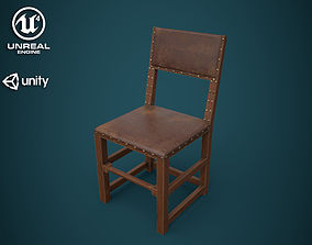 3D model Medieval back stool chair
