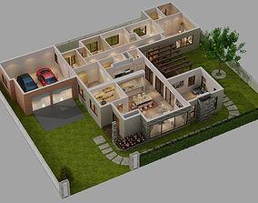 3D CUTAWAY HOUSE FULL FURNITURES
