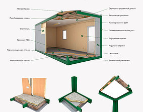 3D model Office container