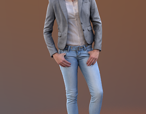 Ina 10061 - Standing Casual Girl 3D asset