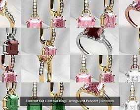 3D model Emerald Cut Gem Set Ring Earrings and Pendant