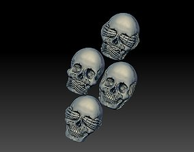 Hear See Speak No EVIL skull bas relief cnc