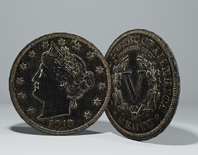 Coin 5 Cent Low-poly 3D asset