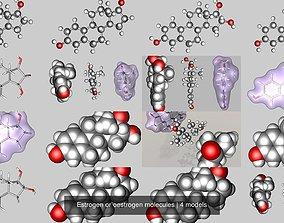 Estrogen or oestrogen molecules 3D model