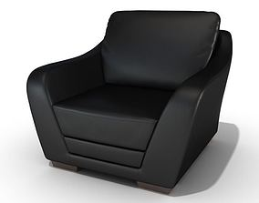 Contemporary Black Leather Chair 3D model