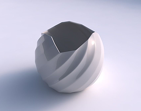 Bowl Spheric wavy with bands 3D print model