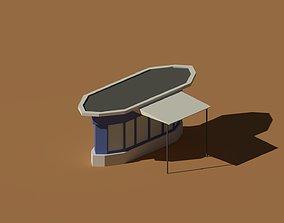 Low Poly Kiosk Stand 2 3D asset