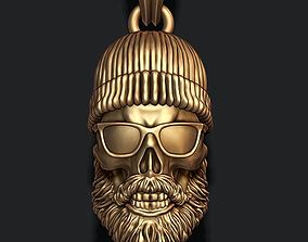 3D print model Bearded skull pendant with hat and sunglass