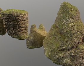 Low poly mossy rocks environment assets game-ready