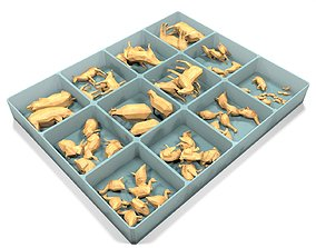 3D model Box With Wooden Animals Toys