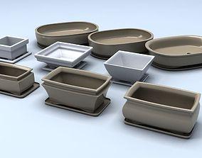 Bonsai pots 3D asset
