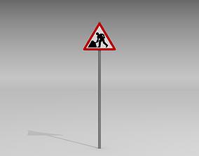 3D Men at work sign