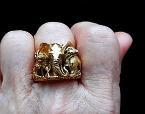 3D printable model animal ring elephant ring tiger rhino 4
