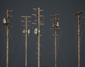 3D asset Power Pole Set PBR Game Ready