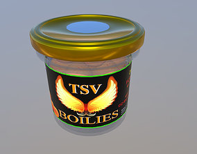 game-ready 3D model Glass jar with boilies for fishing