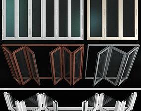 aluminum Folding stained Glass Aluminum Doors 3D model
