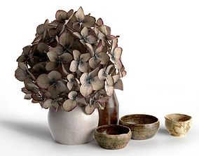3D Vases with Hydrangea Flowers and Bowl Set