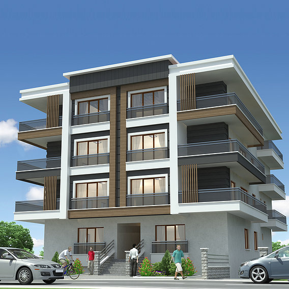 Apartment exterior rendering and elevation design 04