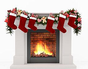 wreath 3D model Christmas Fireplace