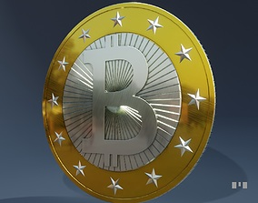 3D bitcoin with textures