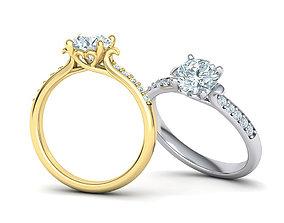 Own design Engagement ring Heart design 3D print model 3