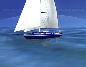 3D 30 Foot Cutter Rigged Sloop V07