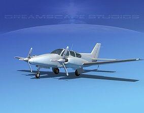 Beechcraft B55 Baron Bare Metal 3D