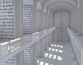 library 3D model bookstore