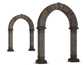 3D model Wooden Medieval Archway