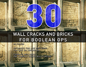 3D Wall Cracks and Bricks For Boolean Operations