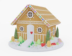 Gingerbread House 3D model VR / AR ready