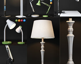 3D SET OF 5 TABLE LAMPS