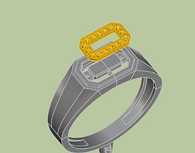 3D print model mans stylish seal ring with stones