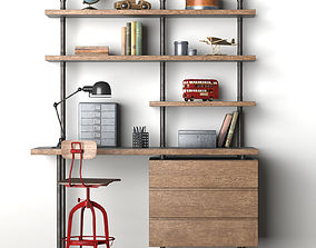 Induatrial Pipe Single Desk and Shelving with Drawers 3D