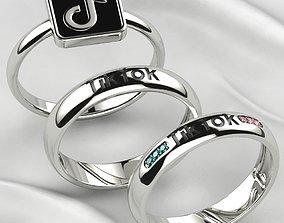TikTok Enamel Rings Set Gold or Silver 3D print model